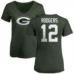 Women's Aaron Rodgers Green Bay Packers Name & Number Logo Slim Fit T-Shirt - Green