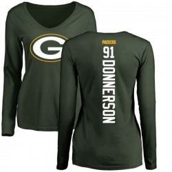 Women's Kendall Donnerson Green Bay Packers Backer Slim Fit Long Sleeve T-Shirt - Green