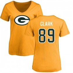 Women's Michael Clark Green Bay Packers Name & Number Logo Slim Fit T-Shirt - Gold