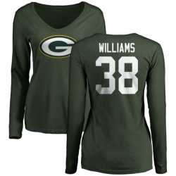 Women's Tramon Williams Green Bay Packers Name & Number Logo Slim Fit Long Sleeve T-Shirt - Green